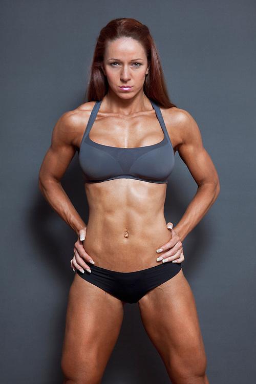 Female bodybuilder posing.
