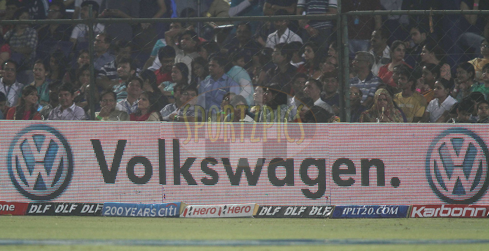 Volkswagen branding during match 4 of the the Indian Premier League ( IPL) 2012  between The Rajasthan Royals and the Kings X1 Punjab held at the Sawai Mansingh Stadium in Jaipur on the 6th April 2012..Photo by Shaun Roy/IPL/SPORTZPICS
