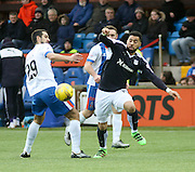 Dundee&rsquo;s Kane Hemmings goes past Kilmarnock&rsquo;s Gary Dicker - Kilmarnock v Dundee, Ladbrokes Premiership at Rugby Park<br /> <br />  - &copy; David Young - www.davidyoungphoto.co.uk - email: davidyoungphoto@gmail.com