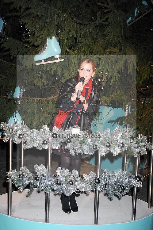 EMMA WATSON switching the christmas tree lights on at the opening of the Somerset House ice Rink for 2008 sponsored by Tiffany & Co held at Somerset House, The Strand, London on 18th November 2008.
