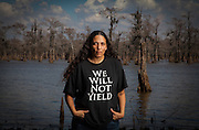 Cherri Foytlin stands near the edge of the Atchafalaya Swamp in Louisiana on February 24, 2011.