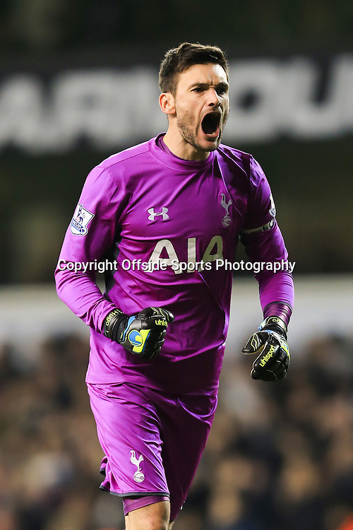 1 January 2015 - Barclays Premier League - Tottenham Hotspur v Chelsea - Hugo Lloris of Tottenham Hotspur reacts as Danny Rose scores a goal - Photo: Marc Atkins / Offside.