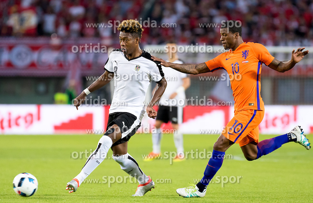 04.06.2016, Ernst Happel Stadion, Wien, AUT, Testspiel, Oesterreich vs Niederlande, im Bild v.l. David Alaba (AUT), Georginio Wijnaldum (NED) // v.l. David Alaba (AUT), Georginio Wijnaldum (NED) during the International Friendly Match between Austria and Netherlands at the Ernst Happel Stadion in Wien, Austria on 2016/06/04. EXPA Pictures © 2016, PhotoCredit: EXPA/ Sebastian Pucher