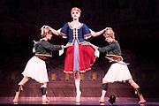 Dance phenomenon Les Ballet Trockedero de Monte Carlo is the award-winning, all-male, comedy ballet company hailing from New York. <br /> <br /> La Trovatiara Pas de Cinq, choreographed by Peter Anastos and featuring Joshua Thake,   Roberto Vega &amp; Kevin Garcia. <br /> Peacock Theatre, London.<br /> <br /> &copy; Tony Nandi 2018