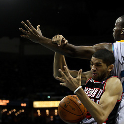 March 30, 2011; New Orleans, LA, USA; Portland Trail Blazers small forward Nicolas Batum (88) is fouled by New Orleans Hornets power forward Carl Landry (24) during the first half at the New Orleans Arena.    Mandatory Credit: Derick E. Hingle