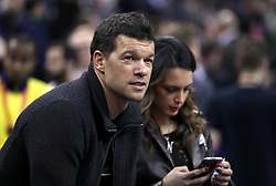 Michael Ballack and Natacha Tannous in the crowd during the NBA London Game 2018 at the O2 Arena, London.