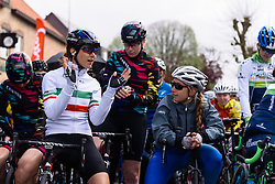 Elena Cecchini chats on the start line at Dwars door de Westhoek 2016. A 127km road race starting and finishing in Boezinge, Belgium on 24th April 2016.