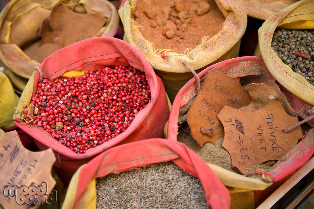 Spices in sacks