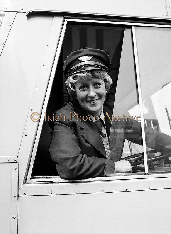 Joan Doran of Ballyfermot, Dublin, CIÉ's first-ever female bus driver, photographed at Phibsborough Garage, Dublin, as she sets off on her first round. <br />