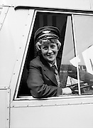 Joan Doran of Ballyfermot, Dublin, CI&Eacute;&rsquo;s first-ever female bus driver, photographed at Phibsborough Garage, Dublin, as she sets off on her first round. <br /> 2 May 1980