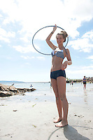 18/06/2014 Carla Coleman from Galway spinning some hoops at the beach in Salthill Galway. Photo:Andrew Downes