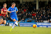 Gillingham FC forward Cody McDonald (10) has a shot on goal during the EFL Sky Bet League 1 match between Gillingham and Shrewsbury Town at the MEMS Priestfield Stadium, Gillingham, England on 28 January 2017. Photo by Andy Walter.