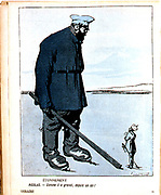 Nicholas II (1868-1919) Tsar of Russia from 1894, dwarfed by the awakening of the Russian people. Cartoon from 'L'Assiette au Buerre', Paris, 10 February 1906.