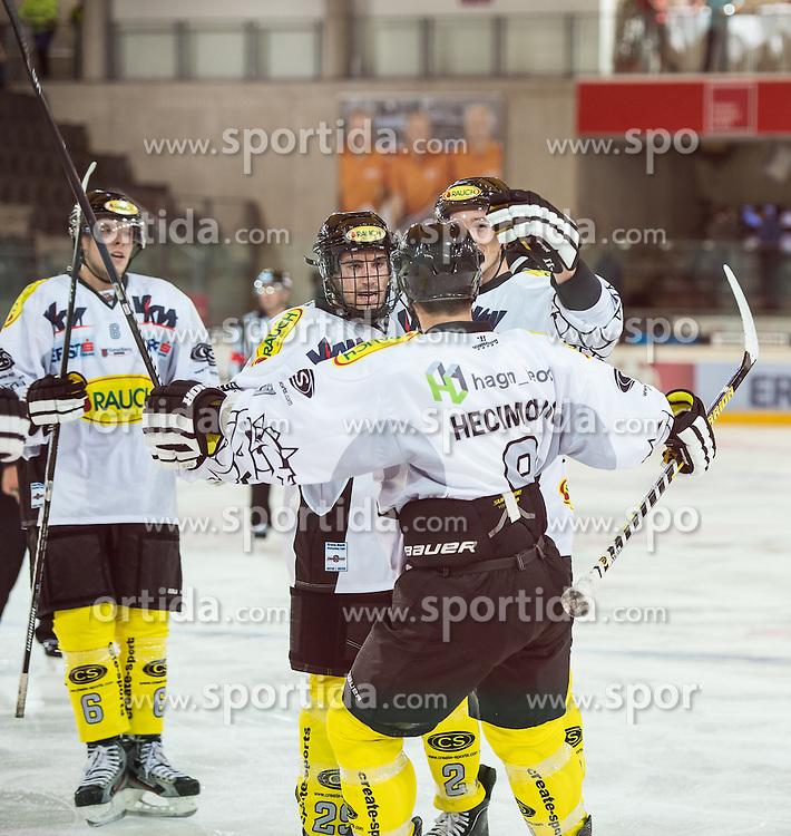 09.09.2012, Tiroler Wasserkraft Arena, Innsbruck, AUT, EBEL, HC TWK Innsbruck vs EC Dornbirn, 02. Runde, im Bild Jonathan DAversa, (EC Dornbirn, #06), Luciano Aquino, (EC Dornbirn, #29), John Hecimovic, (EC Dornbirn, #09), Oliver Magnan-Grenier, (EC Dornbirn, #02) // during the Erste Bank Icehockey League 2nd Round match between HC TWK Innsbruck and EC Dornbirn at the Tiroler Wasserkraft Arena, Innsbruck, Austria on 2012/09/09. EXPA Pictures © 2012, PhotoCredit: EXPA/ Eric Fahrner