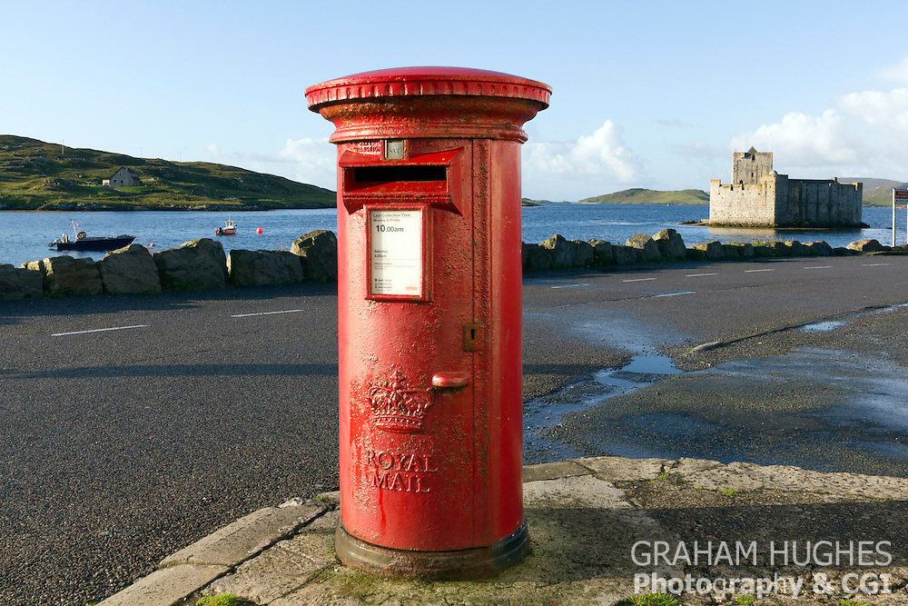 Isle Of Barra, Post Box, Kisimul Castle In Background