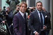UNITED KINGDOM, London: 12 April 2018 Sir Cliff Richard arrives at The Rolls Building of The Royal Courts of Justice as he is suing the BBC for damages over it's coverage of a raid on his home in 2014. Rick Findler / Story Picture Agency