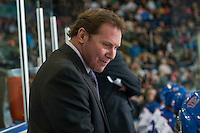 KELOWNA, CANADA - NOVEMBER 29: Dave Struch, assistance coach of the Regina Pats stands on the bench against the Kelowna Rockets on November 29, 2014 at Prospera Place in Kelowna, British Columbia, Canada.  (Photo by Marissa Baecker/Shoot the Breeze)  *** Local Caption *** Dave Struch;