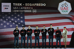 February 23, 2019 - Abu Dhabi, United Arab Emirates - Trek - Segafredo Team from USA, during the Team Presentation, at the opening ceremony of the 1st UAE Tour, inside Louvre Abu Dhabi museum..On Saturday, February 23, 2019, Abu Dhabi, United Arab Emirates. (Credit Image: © Artur Widak/NurPhoto via ZUMA Press)