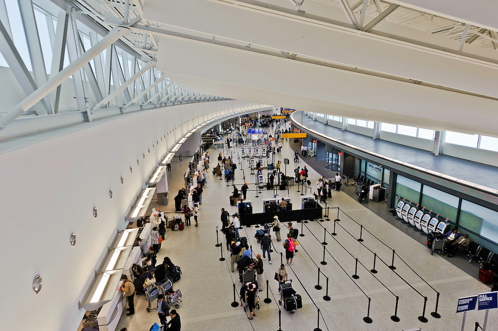 Interior, Terminal 5, designed by Gensler,  John F. Kennedy International Airport, Queens, New York City, New York, USA