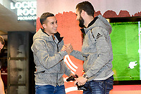 Real Madrid's players Lucas Vazquez and Nacho Fernandez attends to the presentation of the new Adidas shoes Red Limit at Adidas Gran Via Store in Madrid. November 28, 2016. (ALTERPHOTOS/Borja B.Hojas)