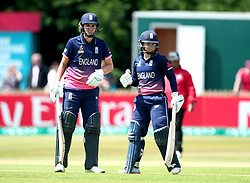 Natalie Sciver of England Women and Tammy Beaumont of England Women fist bump during their partnership together - Mandatory by-line: Robbie Stephenson/JMP - 12/07/2017 - CRICKET - The County Ground Derby - Derby, United Kingdom - England v New Zealand - ICC Women's World Cup match 21