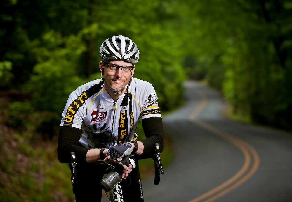 A doctor who is an avid cyclist photographed at Morrow Mountain in North Carolina.
