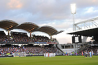 Stade Gerland - Hommage a Charlie Hebdo - 11.01.2015 - Lyon / Toulouse - 20eme journee de Ligue 1<br /> Photo : Jean Paul Thomas / Icon Sport