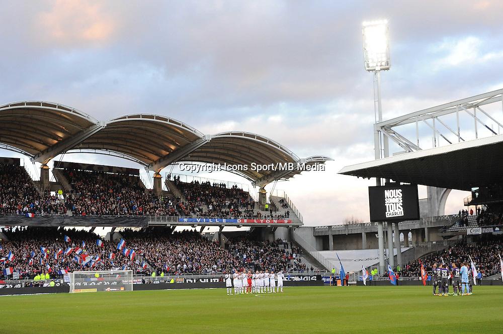 Stade Gerland - Hommage a Charlie Hebdo - 11.01.2015 - Lyon / Toulouse - 20eme journee de Ligue 1<br /> Photo : Jean Paul Thomas / Icon Sport