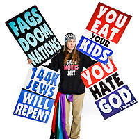 "Luci Drain, member of the Westboro Baptist Church.  She is not related to the Phelps family.  According to the church, she ""Supports WBC's testimony to Doomed America in various capacities as needed"""