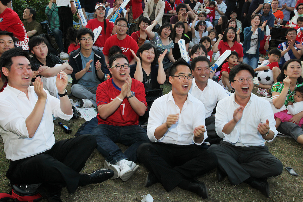 World Cup 2010 watched  on London TV<br /> S.Korea v Nigeria at Fans Park, New Malden