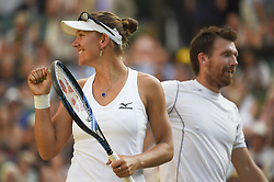 LONDON, July 16, 2018  Alexander Peya (R) of Austria and Nicole Melichar of the United States celebrate after winning the mixed doubles final match against Jamie Murray of Britain and Victoria Azarenka of Belarus at the Wimbledon Championships 2018 in London, Britain, on July 15, 2018. Alexander Peya and Nicole Melichar won 2-0 and claimed the champion. (Credit Image: © Stephen Chung/Xinhua via ZUMA Wire)