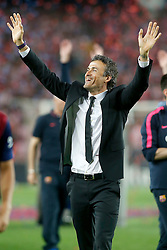 30.05.2015, Camp Nou, Barcelona, ESP, Copa del Rey, Athletic Club Bilbao vs FC Barcelona, Finale, im Bild FC Barcelona's coach Luis Enrique Martinez celebrates the victory // during the final match of spanish king's cup between Athletic Club Bilbao and Barcelona FC at Camp Nou in Barcelona, Spain on 2015/05/30. EXPA Pictures &copy; 2015, PhotoCredit: EXPA/ Alterphotos/ Acero<br /> <br /> *****ATTENTION - OUT of ESP, SUI*****
