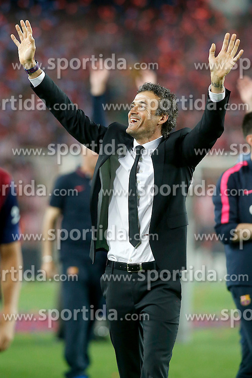 30.05.2015, Camp Nou, Barcelona, ESP, Copa del Rey, Athletic Club Bilbao vs FC Barcelona, Finale, im Bild FC Barcelona's coach Luis Enrique Martinez celebrates the victory // during the final match of spanish king's cup between Athletic Club Bilbao and Barcelona FC at Camp Nou in Barcelona, Spain on 2015/05/30. EXPA Pictures © 2015, PhotoCredit: EXPA/ Alterphotos/ Acero<br /> <br /> *****ATTENTION - OUT of ESP, SUI*****