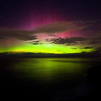 An aurora, sometimes referred to as a polar lights or northern lights, is a natural light display in the sky, predominantly seen in the high latitude (Arctic and Antarctic) regions. ... Proton auroras are usually observed at lower latitudes.