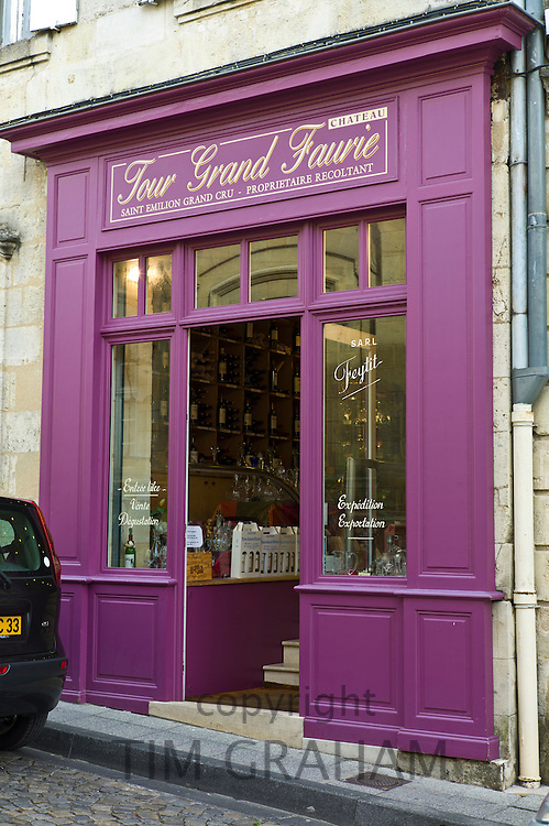 Wine merchants shop, Chateau Tour Grand Faurie, in St Emilion in the Bordeaux wine region of France