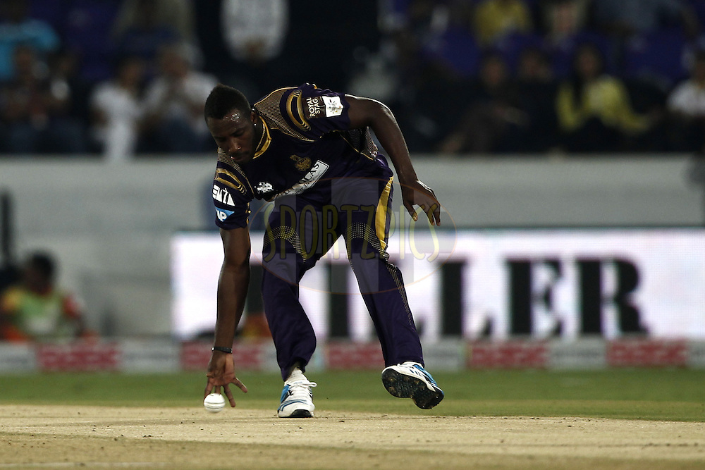 Andre Russell of the Kolkata Knight Riders during match 7 of the Oppo Champions League Twenty20 between the Kolkata Knight Riders and the Lahore Lions held at the Rajiv Gandhi Cricket Stadium, Hyderabad, India on the 21st September 2014<br /> <br /> Photo by:  Deepak Malik / Sportzpics/ CLT20<br /> <br /> <br /> Image use is subject to the terms and conditions as laid out by the BCCI/ CLT20.  The terms and conditions can be downloaded here:<br /> <br /> http://sportzpics.photoshelter.com/gallery/CLT20-Image-Terms-and-Conditions-2014/G0000IfNJn535VPU/C0000QhhKadWcjYs