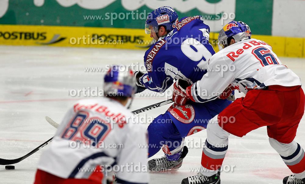 28.10.2011, Stadthalle, Villach, AUT, EBEL, EC Rekord Fenster VSV vs EC Red Bull Salzburg, im Bild Tomaz Razingar (VSV) und Alexander Pallestrang (EC RBS)  // during the Erste Bank Icehockey League, Stadthalle, Villach, Austria, 2011-10-28, EXPA Pictures © 2011, PhotoCredit: EXPA/ Oskar Hoeher