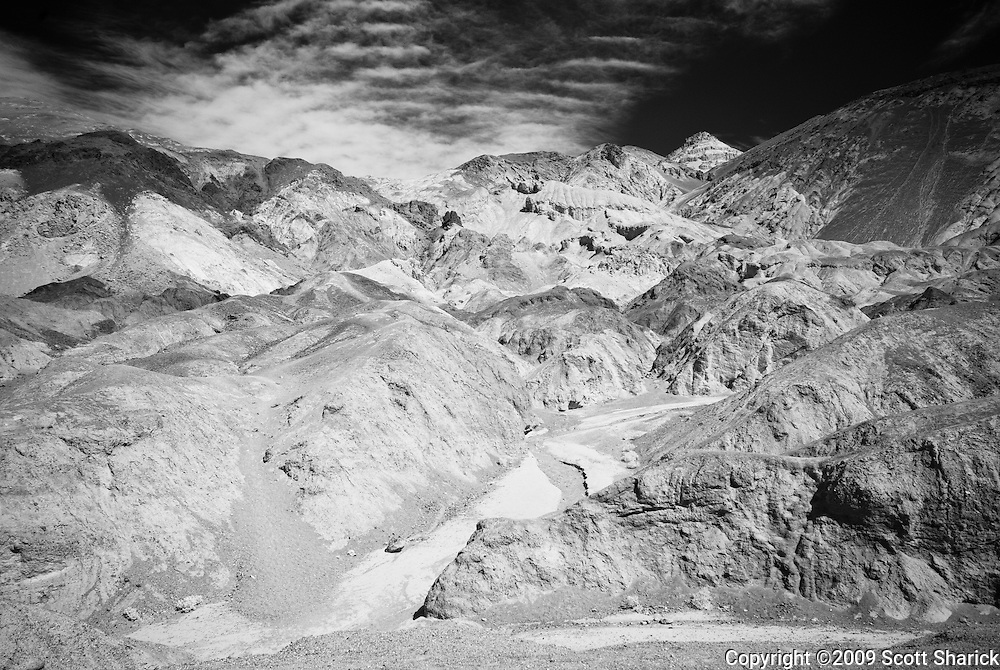 An infrared image of Artists' Point in Death Valley National Park.