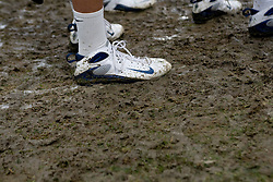 05 April 2008: North Carolina Tar Heels men's lacrosse midfielder Cryder DiPietro (48) on a muddy field versus the Virginia Cavaliers in Chapel Hill, NC.