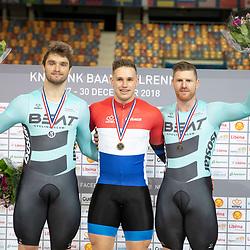 30-12-2018: Wielrennen: NK Baan: Apeldoorn<br />Podium scratch Harry Lavreijssen, Mathijs Buchli, Roy van den Berg