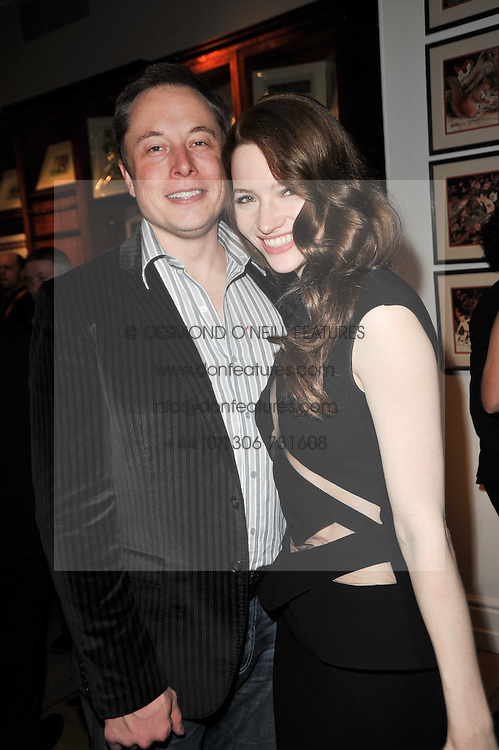 ELON MUSK co-founder of PayPal and TALULAH RILEY at the BAFTA Nominees party 2011 held at Asprey, 167 New Bond Street, London on 12th February 2011.