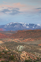 La Sal Mountains from Fiery Furnace overlook,  Arches National Park Utah