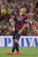 Barcelona´s Luis Suarez reacts during 2014-15 Copa del Rey final match between Barcelona and Athletic de Bilbao at Camp Nou stadium in Barcelona, Spain. May 30, 2015. (ALTERPHOTOS/Victor Blanco)