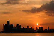 Detroit Skyline at Sunset from Belle Isle.