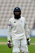 Hashim Amla of Hampshire during the Specsavers County Champ Div 1 match between Hampshire County Cricket Club and Worcestershire County Cricket Club at the Ageas Bowl, Southampton, United Kingdom on 13 April 2018. Picture by Graham Hunt.
