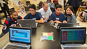 Houston Texan Jeff Allen and Texans President Jamey Rootes chat with students at the launch of Character Playbook, a joint initiative of the NFL and the United Way Worldwide at Pilgrim Academy, February 3, 2017.