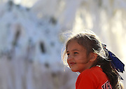 AUBURN, AL - APRIL 20:  Riley Hawkins watches the ceremonies from her father's shoulders during the Auburn Oaks at Toomer's Corner Celebration on April 20, 2013 in Auburn, Alabama.  (Photo by Mike Zarrilli/Getty Images)