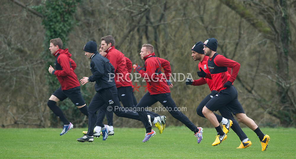 CARDIFF, WALES - Sunday, March 24, 2013: Wales' Craig Bellamy during a training session at the Vale of Glamorgan ahead of the 2014 FIFA World Cup Brazil Qualifying Group A match against Croatia. (Pic by David Rawcliffe/Propaganda)  CARDIFF, WALES - Sunday, March 24, 2013: Wales' xxxx during a training session at the Vale of Glamorgan ahead of the 2014 FIFA World Cup Brazil Qualifying Group A match against Croatia. (Pic by David Rawcliffe/Propaganda)