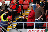 A gentleman in the crowd receives attention after being hit it the face by a ball as Bradford City warm up before the Sky Bet League 1 match at the Matchroom Stadium, London<br /> Picture by David Horn/Focus Images Ltd +44 7545 970036<br /> 29/03/2014
