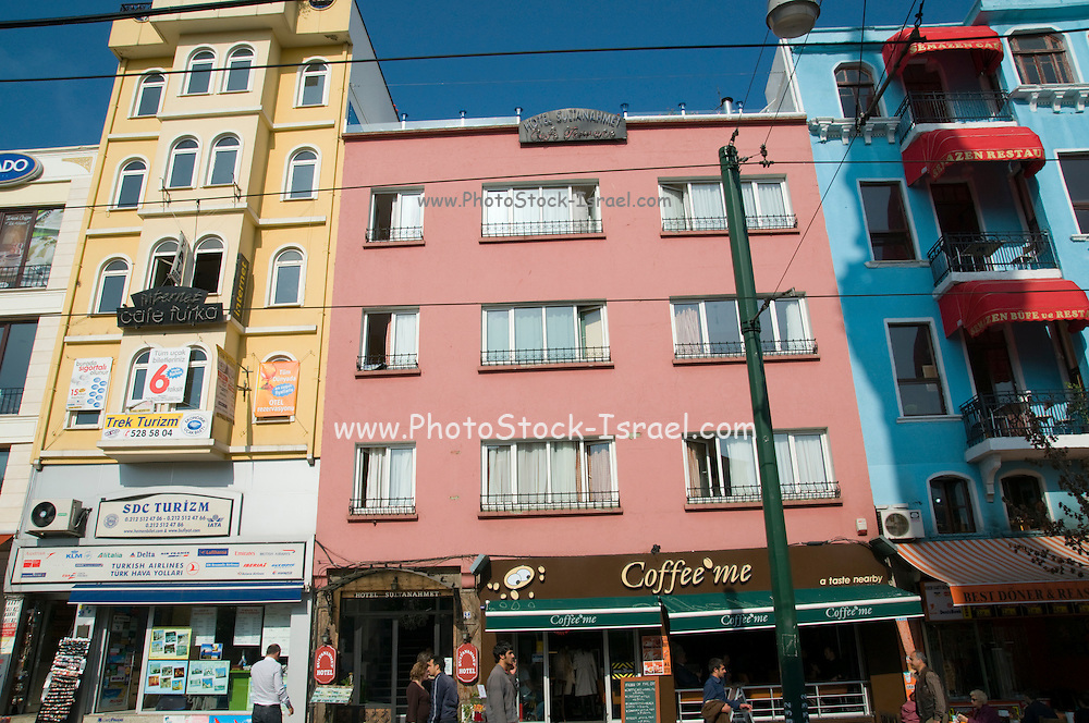 Turkey, Istanbul, The colourful Facade of the buildings in Divanyolu Caddesi